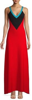 Victor Glemaud V-Neck Colorblock Wool Maxi Dress