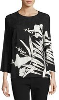 Escada Leaf-Print 3/4-Sleeve Tunic, Black/Multi
