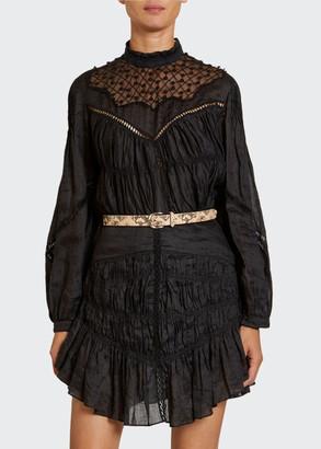 Isabel Marant Long-Sleeve Lace-Yoke Blouse