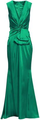 Talbot Runhof Polis Twist-front Draped Satin Gown