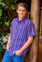 Men's Colorful Handwoven Cotton Short Sleeve Shirt, 'Colorful Guatemala'