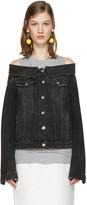 MSGM Black Off-The-Shoulder Denim Jacket