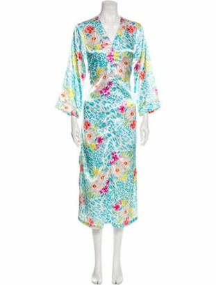 Oscar de la Renta Floral Print Long Dress Blue