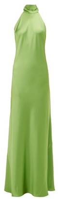Galvan Sienna Halterneck Satin Maxi Dress - Green