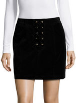 Design Lab Lord & Taylor Corduroy Lace Up Mini Skirt
