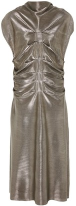 Daneh Metallic Front Pleated Dress