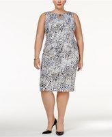 Calvin Klein Plus Size Printed Keyhole Sheath Dress