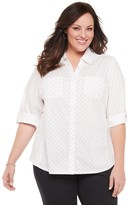 Croft & Barrow Plus Size Eyelet Knit-to-Fit Shirt