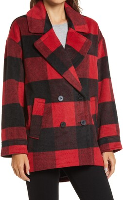 Halogen Buffalo Check Double Breasted Peacoat