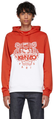 Kenzo Red and White Limited Edition Colorblock Tiger Hoodie