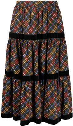 Yves Saint Laurent Pre Owned Geometric Pattern Flared Skirt