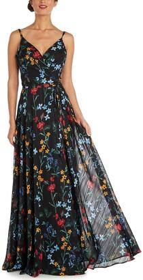Nightway Floral-Print Gown