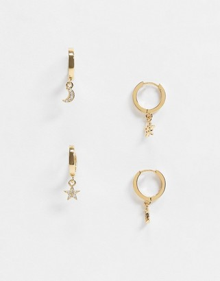 Accessorize Z by pack of 2 star and moon huggie charm hoops
