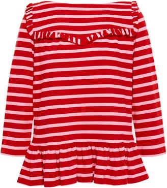 Kate Spade Ruffle-trimmed Striped Cotton-jersey Top