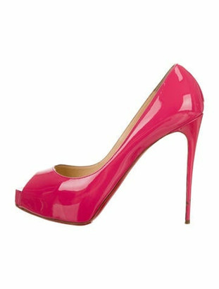 Christian Louboutin Iriza Patent Leather Peep-Toe Pumps Pink