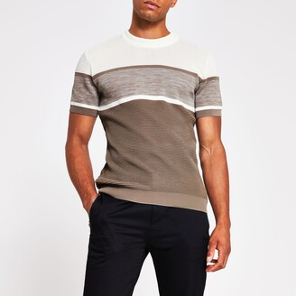 River Island Mens Brown short sleeve slim fit knitted t-shirt