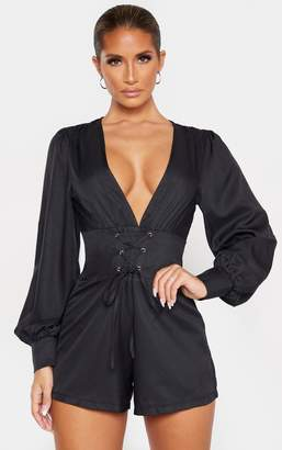 PrettyLittleThing Black Lace Up Long Sleeve Playsuit