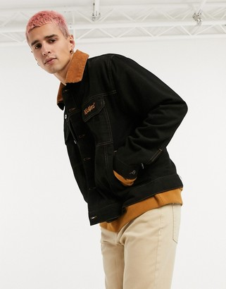 Kickers trucker jacket in black with contrast cord collar