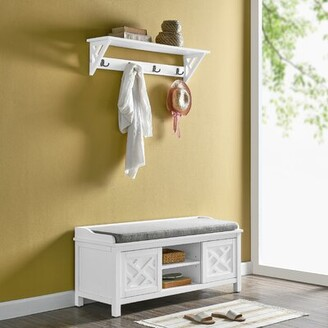 Rosalind Wheeler Lund Wood Shelves Storage Bench Color: White
