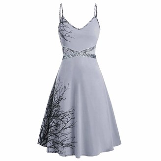 Younthone Women's Camisole Dress Sexy V-Neck Sleeveless Sequin Patchwork High Waist Dress Fashion Gradient Mini Dress Evening Party Elegant Lady Ball Gown Gray