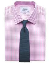 Slim Fit Gingham Pink Cotton Dress Shirt French Cuff Size 15/35 by Charles Tyrwhitt