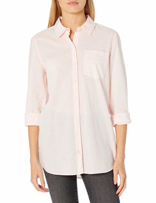 Goodthreads Amazon Brand Women's Cotton Dobby Long-Sleeve Button-Front Tunic Shirt