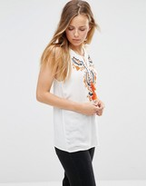 Only Sleeveless Embroidered Folk Top
