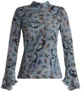 Erdem Lindsey Paisley Vine-print silk blouse