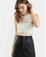 Express lace mock neck bandeau tank