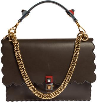 Fendi Taupe Leather Scalloped Kan I Top Handle Shoulder Bag