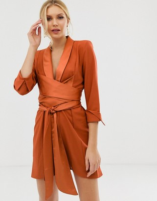 Asos Design DESIGN mini tux dress with self tie belt-Brown