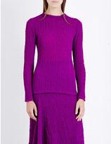 Victoria Beckham Long-sleeved silk-seersucker top