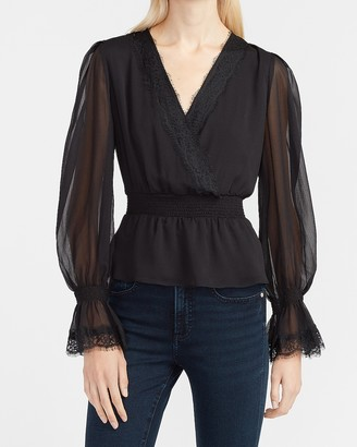 Express Lace Smocked Peplum Top