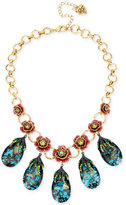 Betsey Johnson Gold-Tone Pavé Rose and Blue Crystal Statement Necklace