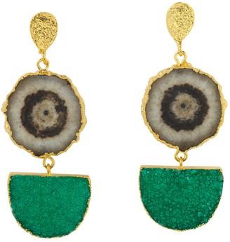 Yaa Yaa London Grey Green Gemstone Gold Statement Earrings