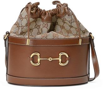 Gucci Horsebit 1955 Pouch Bag in Brown Sugar & Beige Ebony | FWRD