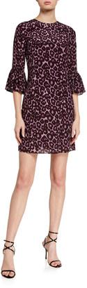 Erdem Elijah Emma Leopard Print Silk Dress