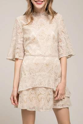 Moon River Ruffled Bell Sleeve Lace Dress