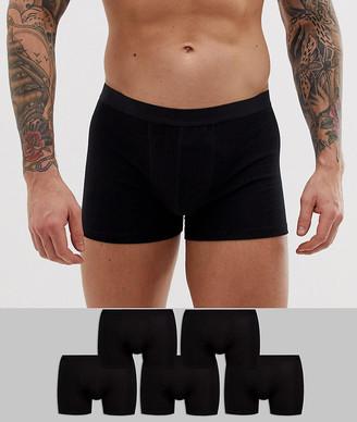 Trunks Asos Design ASOS DESIGN 5 pack in black organic cotton save