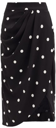 Dolce & Gabbana Asymmetric Polka-dot Crepe Midi Skirt - Black Multi