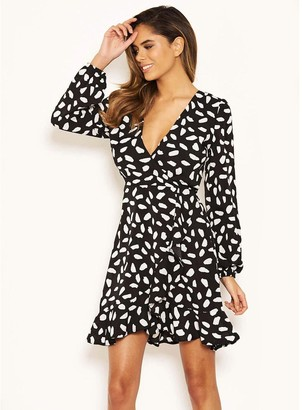 AX Paris Printed Wrap Dress - Black