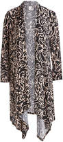 Glam Black & Beige Floral Shaw-Collar Duster - Plus