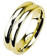 MJ Metals Jewelry Stainless Steel IP Gold Double Dome Polished Band Ring 6mm Comfort Fit Size 8