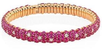 Zydo 18K Rose Gold Diamond & Pink Sapphire Stretch Bracelet