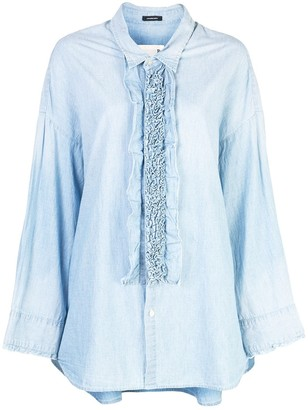 R 13 frill detail oversized shirt