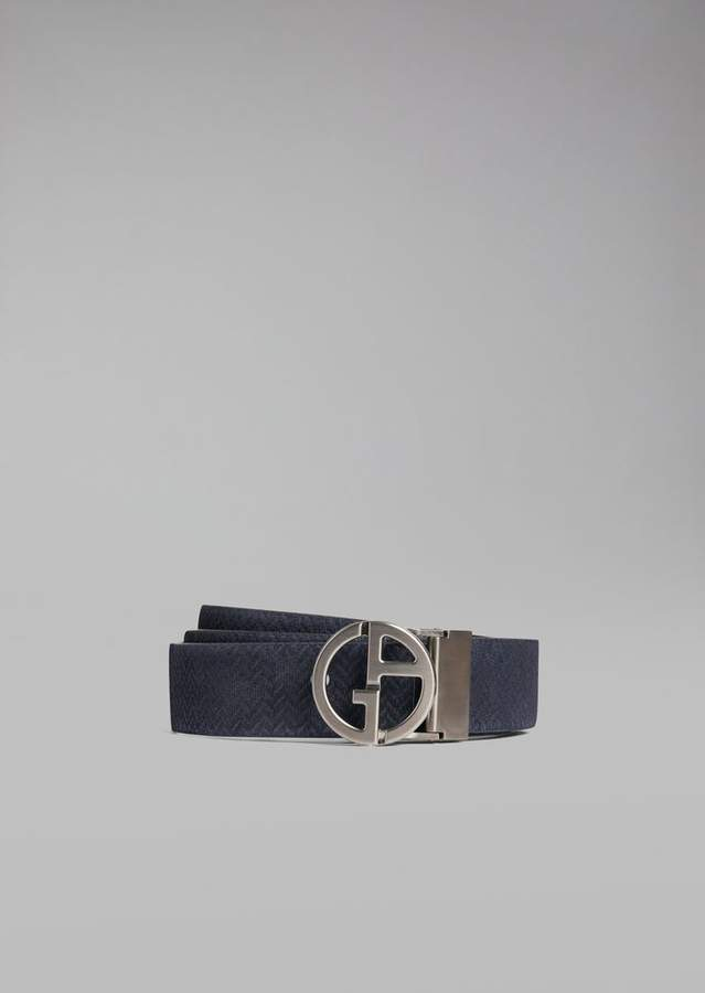 Giorgio Armani Suede Leather Belt With Chevron Print Detail