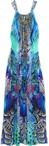 Camilla Embellished Printed Silk Crepe De Chine Maxi Dress - Blue