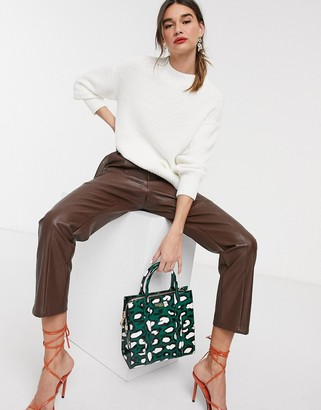 Selected oversized sweater with side splits in white