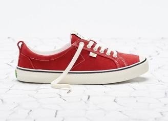 Cariuma OCA Low Stripe Samba Red Suede Contrast Thread Sneaker Men