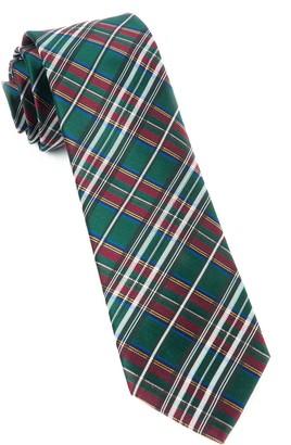 Tie Bar White Christmas Plaid Hunter Green Tie